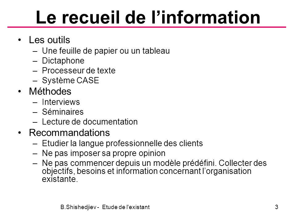 Le recueil de l'information