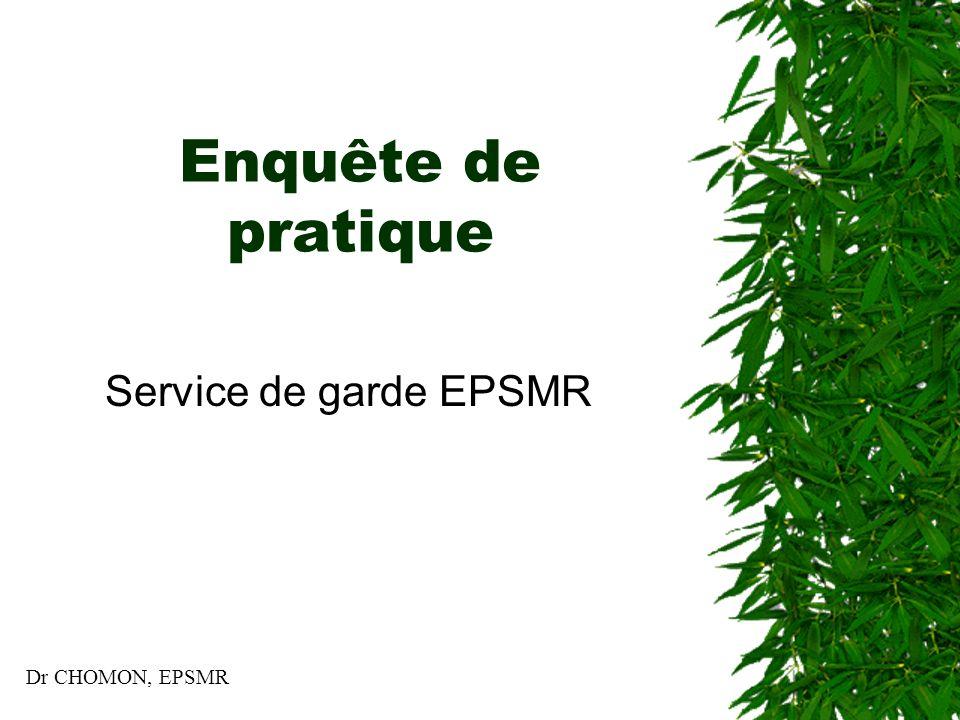 Enquête de pratique Service de garde EPSMR Dr CHOMON, EPSMR