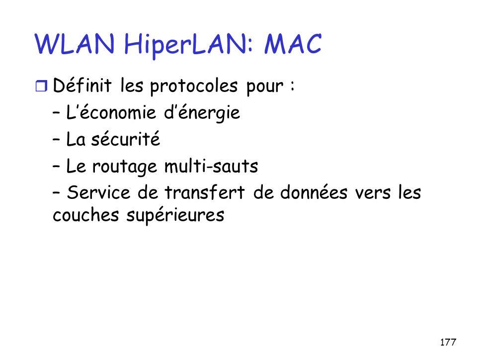 WLAN HiperLAN: MAC Définit les protocoles pour :
