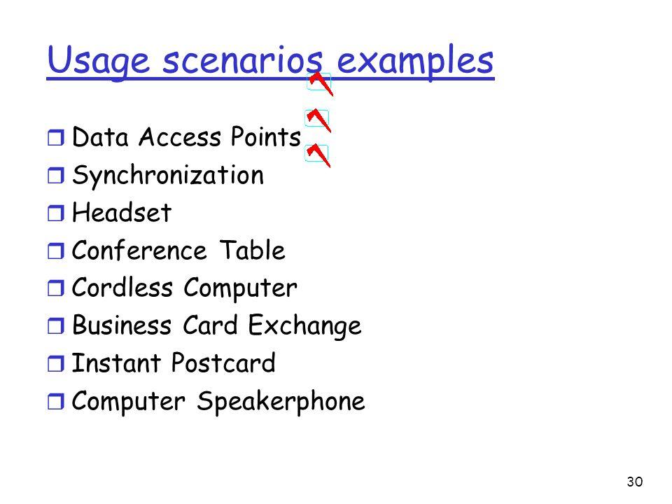 Usage scenarios examples