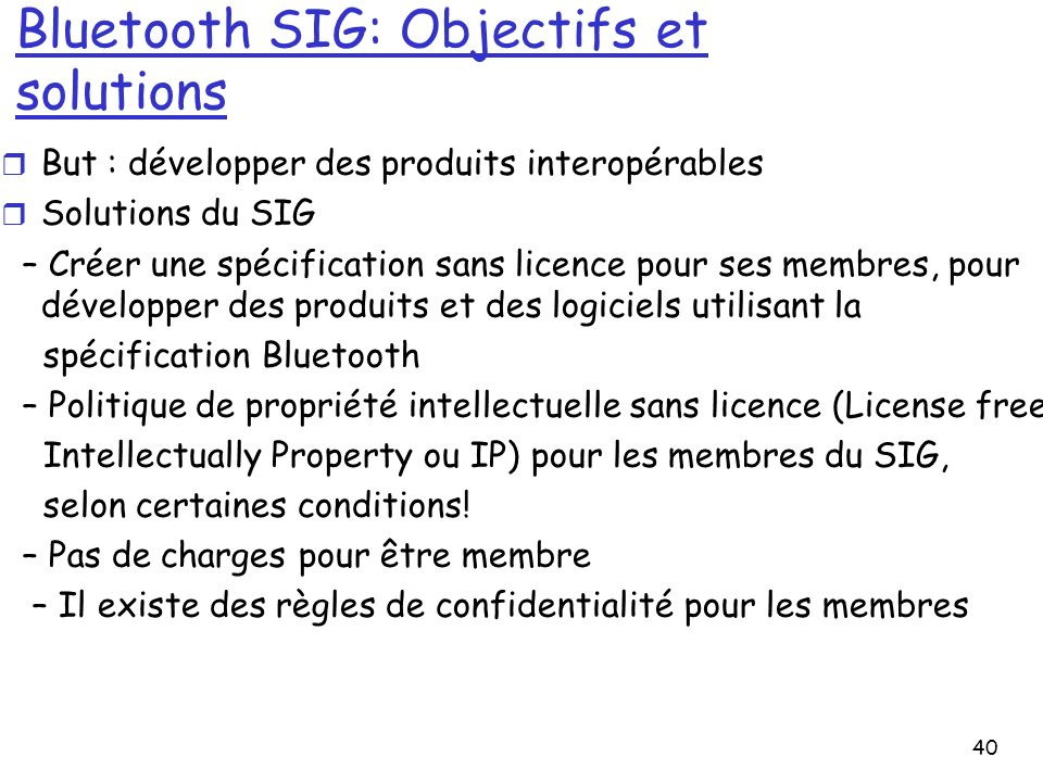 Bluetooth SIG: Objectifs et solutions
