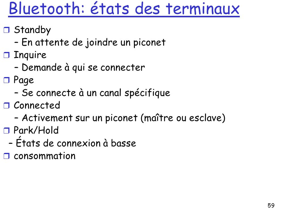 Bluetooth: états des terminaux