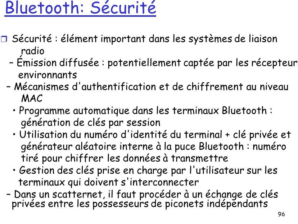 Bluetooth: Sécurité Sécurité : élément important dans les systèmes de liaison. radio.