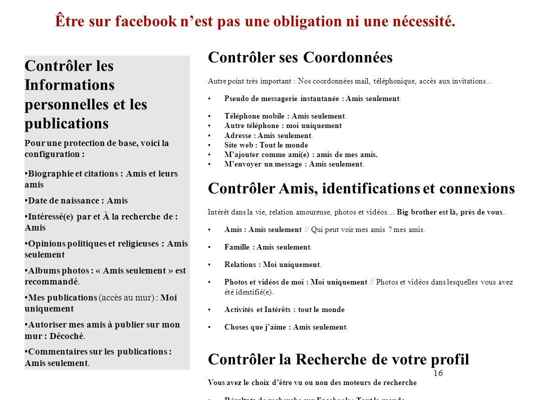 Être sur facebook n'est pas une obligation ni une nécessité.
