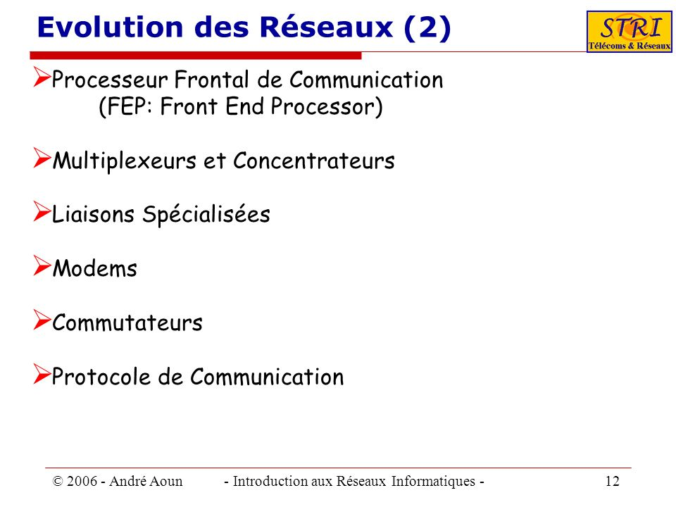 Evolution des Réseaux (2)