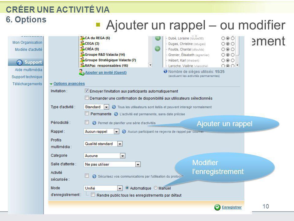 CRÉER UNE ACTIVITÉ VIA 6. Options