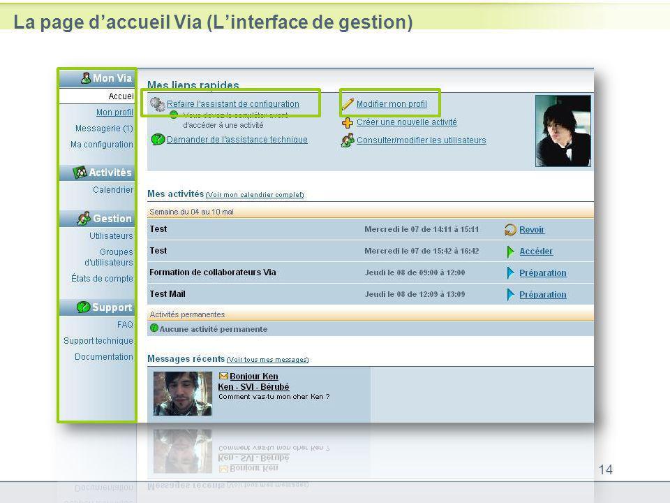 La page d'accueil Via (L'interface de gestion)