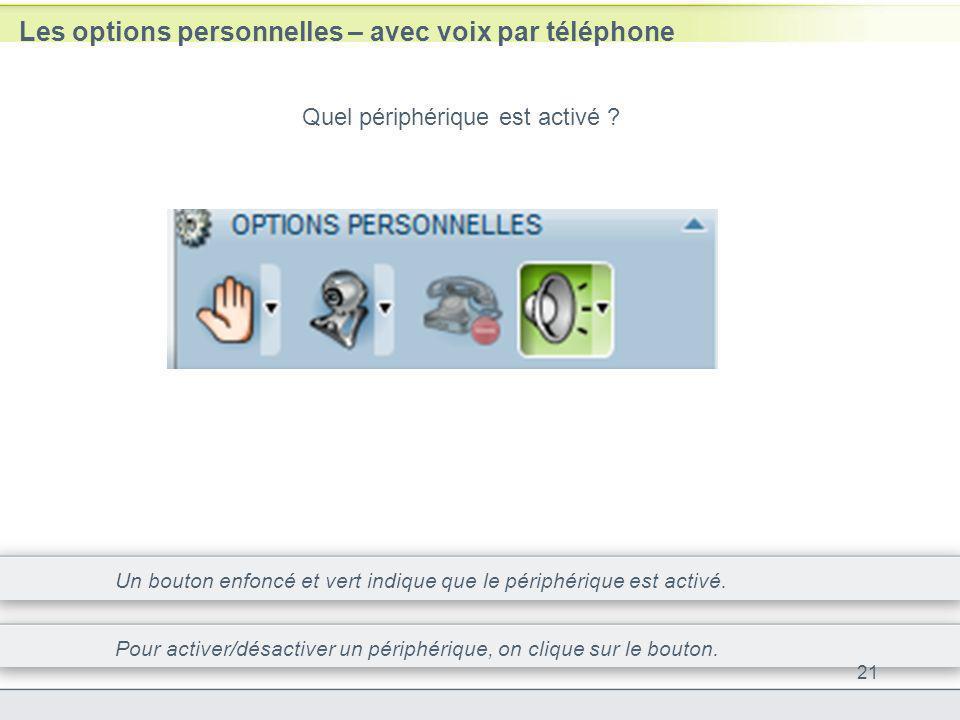 Les options personnelles – avec voix par téléphone