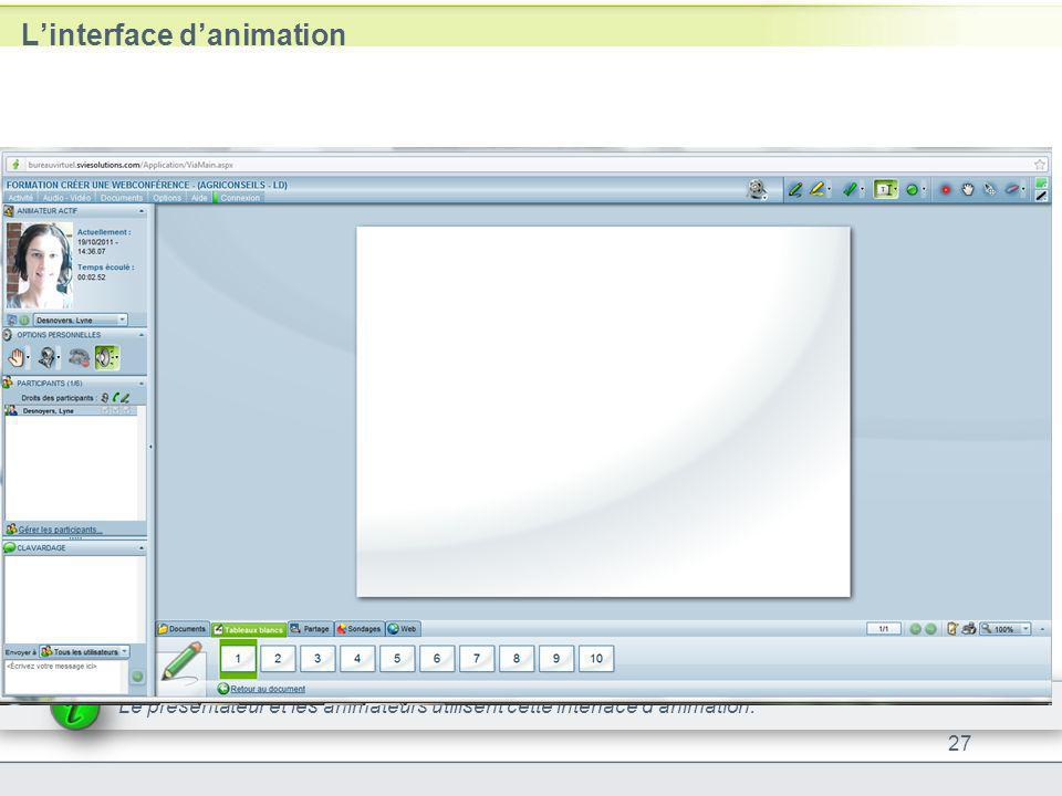 L'interface d'animation