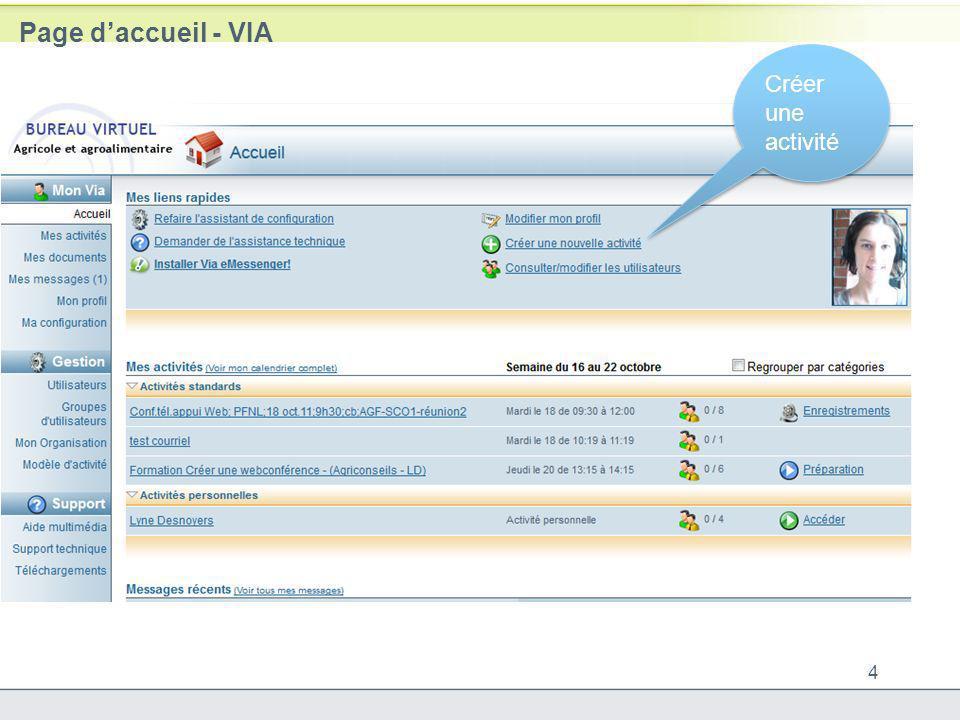Page d'accueil - VIA Créer une activité