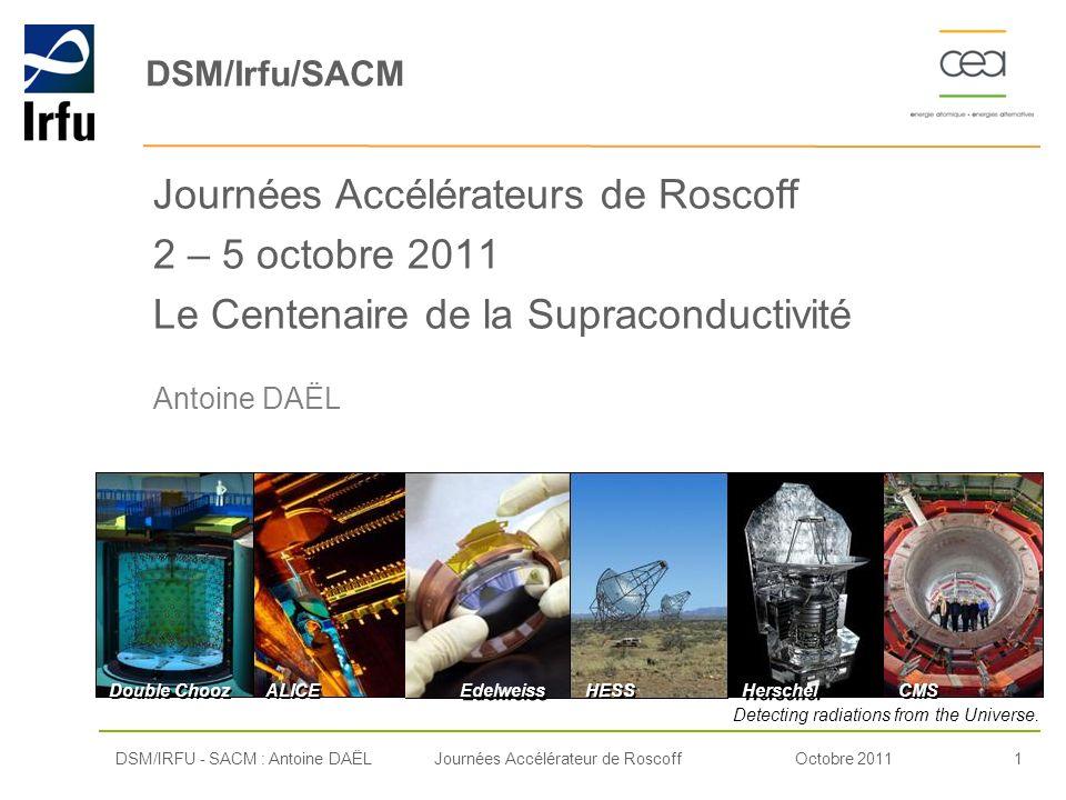 DSM/Irfu/SACM Journées Accélérateurs de Roscoff 2 – 5 octobre 2011 Le Centenaire de la Supraconductivité