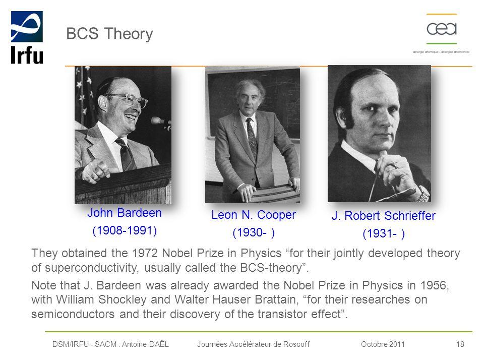 BCS Theory John Bardeen Leon N. Cooper J. Robert Schrieffer