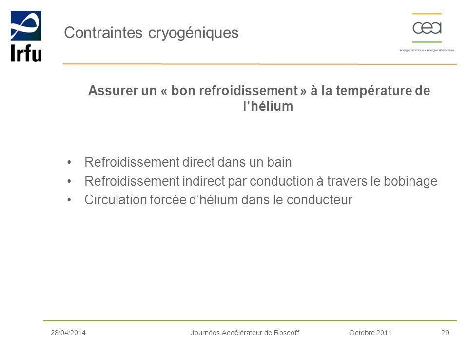 Contraintes cryogéniques