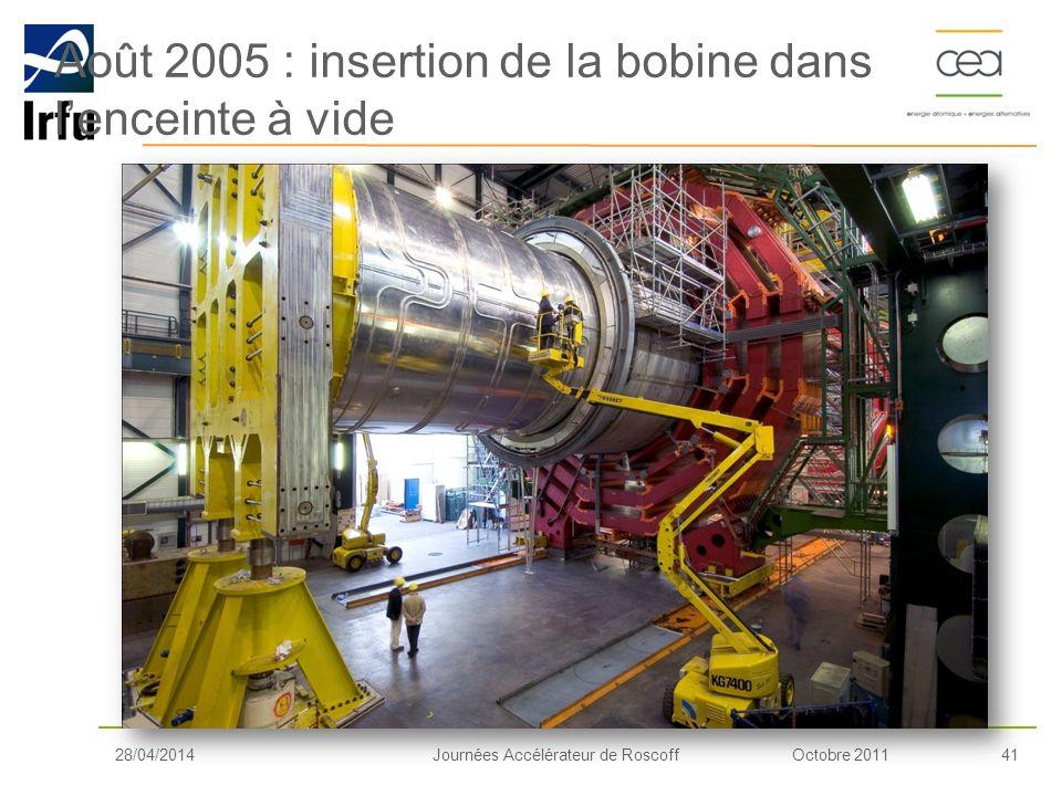 Août 2005 : insertion de la bobine dans l'enceinte à vide