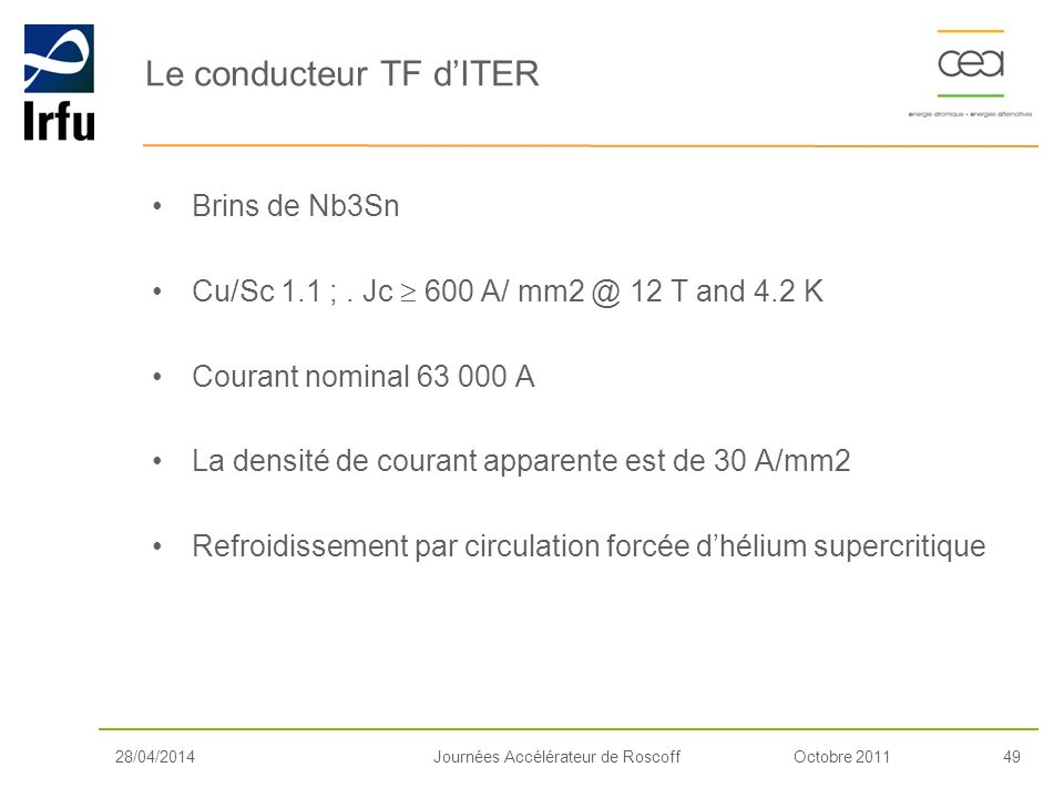 Le conducteur TF d'ITER