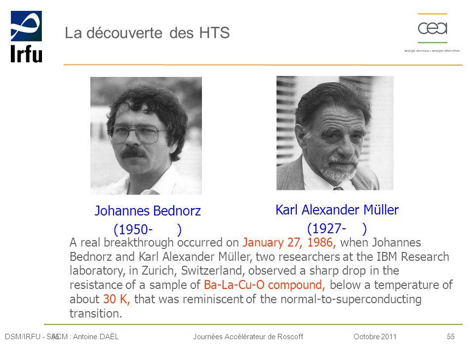 La découverte des HTS Johannes Bednorz Karl Alexander Müller (1950- )