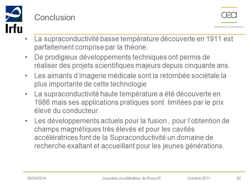Conclusion La supraconductivité basse température découverte en 1911 est parfaitement comprise par la théorie.