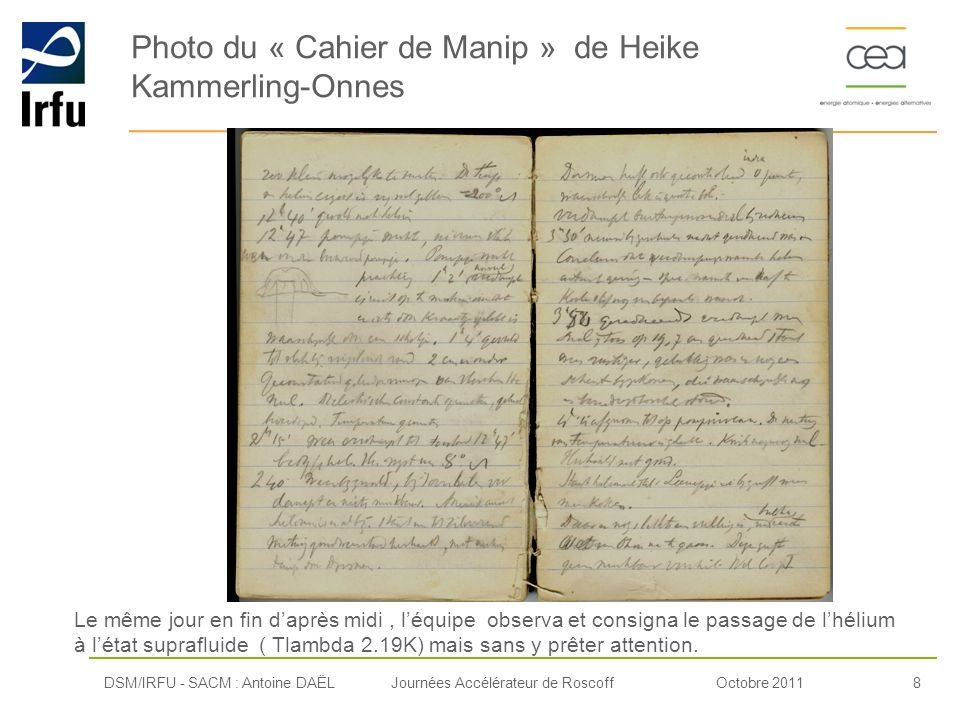 Photo du « Cahier de Manip » de Heike Kammerling-Onnes