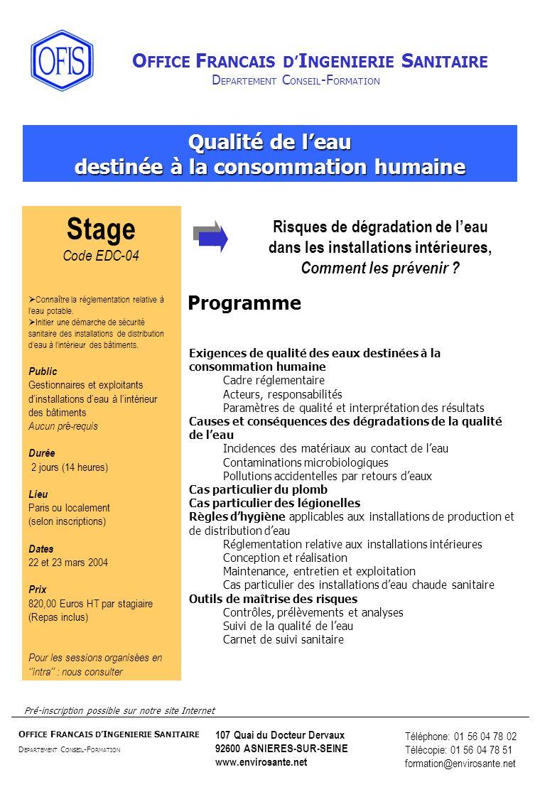 Stage Qualité de l'eau destinée à la consommation humaine Programme