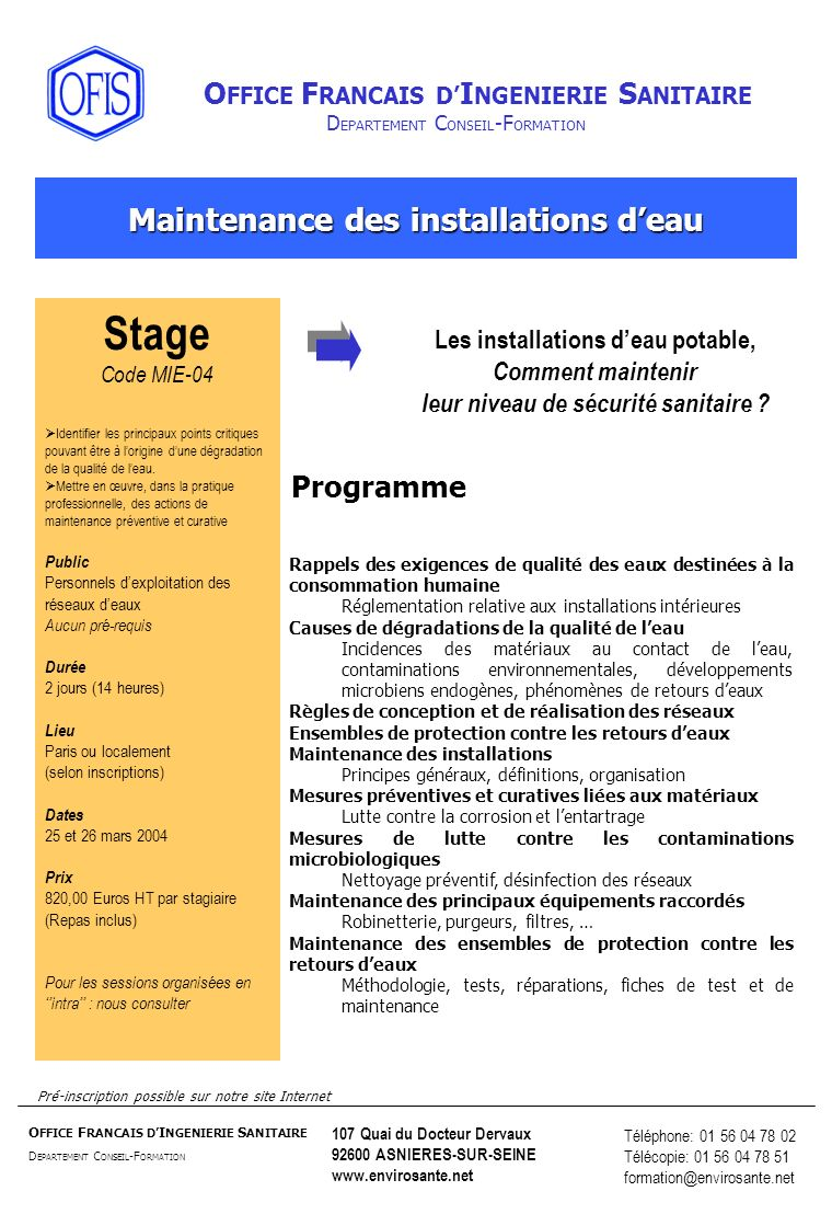 Stage Maintenance des installations d'eau Programme