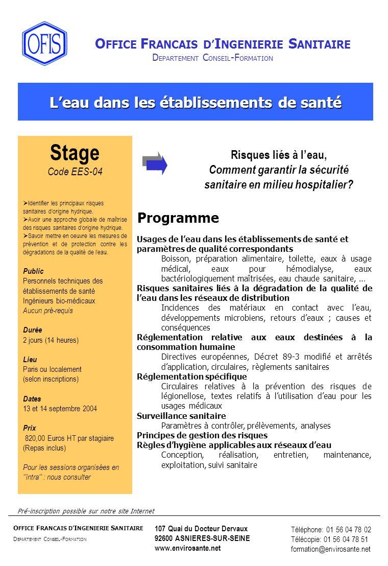 Stage L'eau dans les établissements de santé Programme