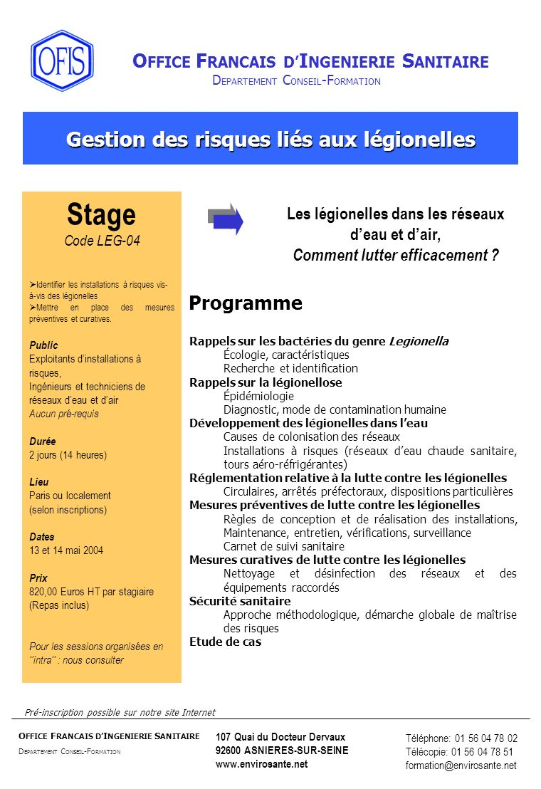 Stage Gestion des risques liés aux légionelles Programme