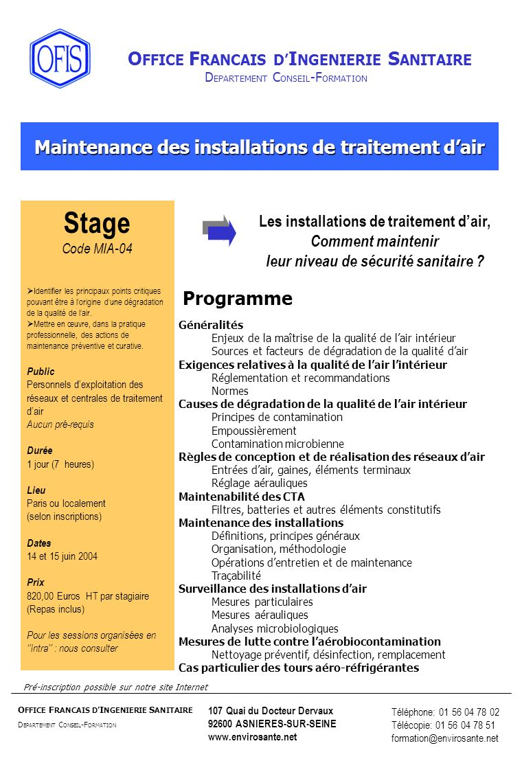 Stage Maintenance des installations de traitement d'air Programme
