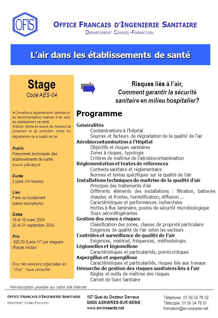 Stage L'air dans les établissements de santé Programme