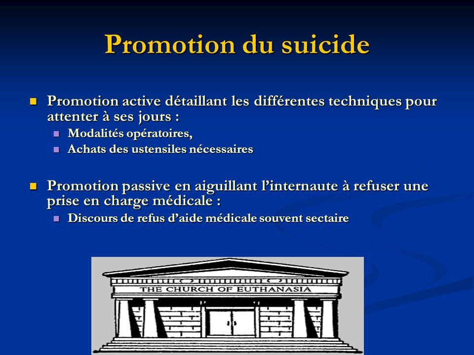 Promotion du suicide Promotion active détaillant les différentes techniques pour attenter à ses jours :