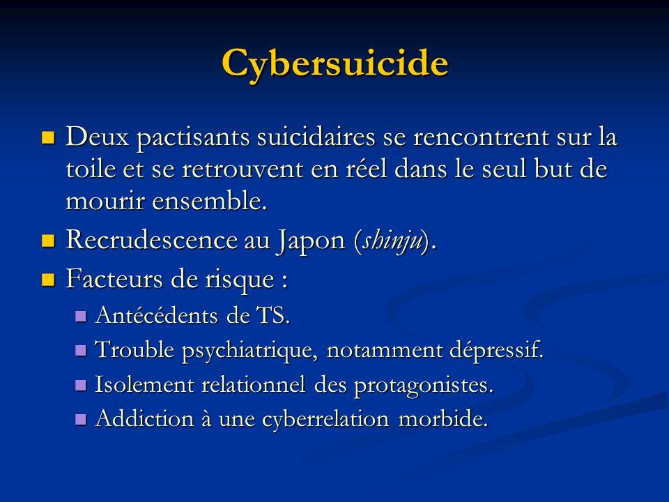 Cybersuicide Deux pactisants suicidaires se rencontrent sur la toile et se retrouvent en réel dans le seul but de mourir ensemble.