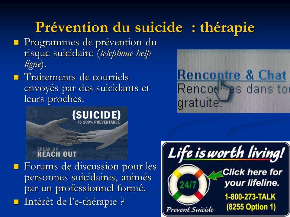 Prévention du suicide : thérapie