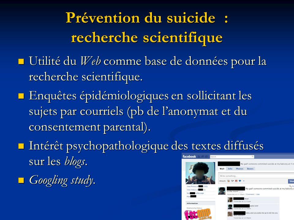 Prévention du suicide : recherche scientifique
