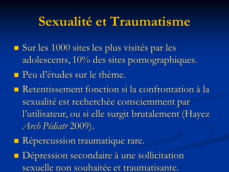 Sexualité et Traumatisme