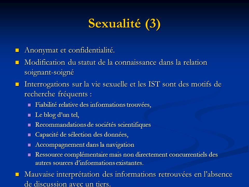 Sexualité (3) Anonymat et confidentialité.