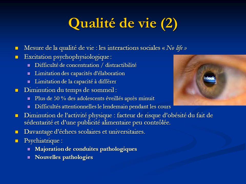 Qualité de vie (2) Mesure de la qualité de vie : les interactions sociales « No life » Excitation psychophysiologique :