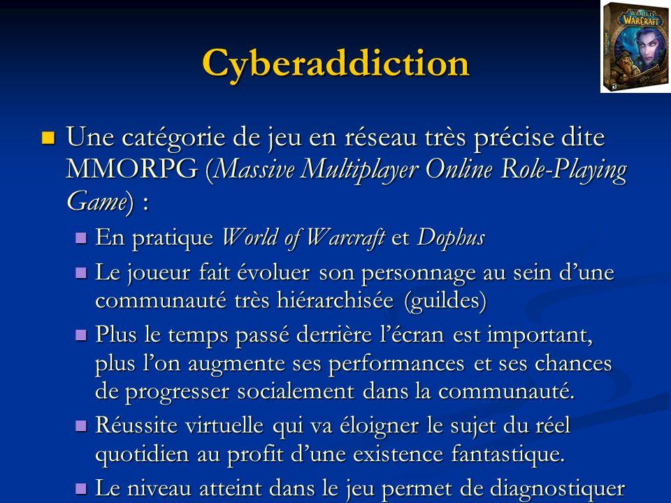 Cyberaddiction Une catégorie de jeu en réseau très précise dite MMORPG (Massive Multiplayer Online Role-Playing Game) :