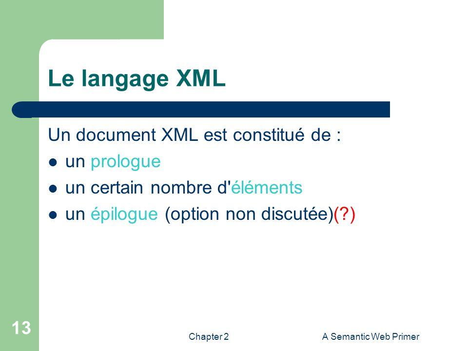 Le langage XML Un document XML est constitué de : un prologue