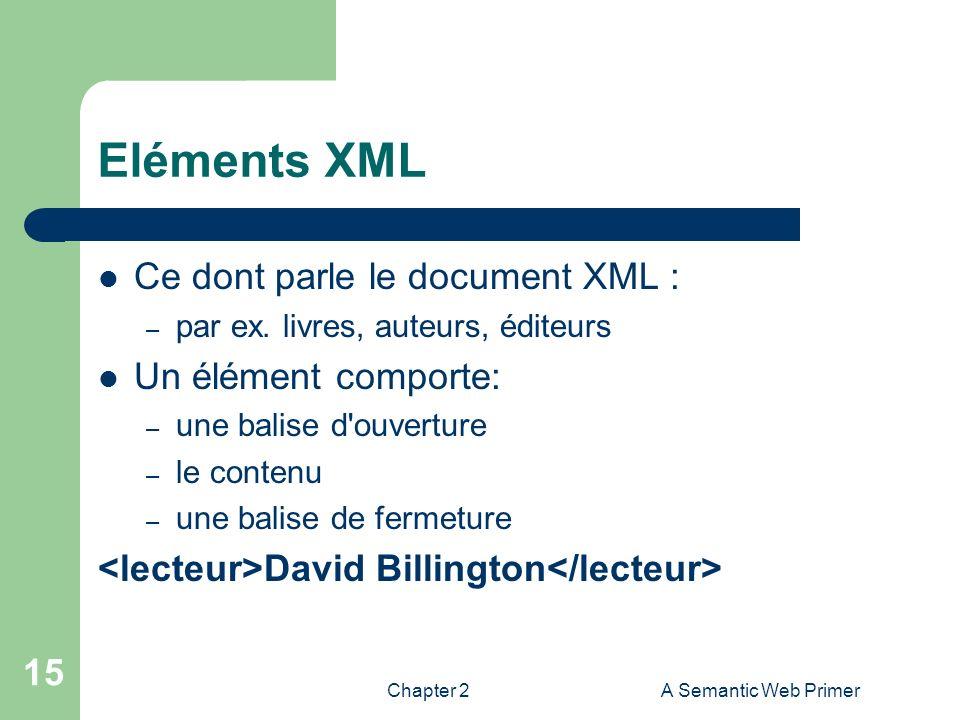 Eléments XML Ce dont parle le document XML : Un élément comporte: