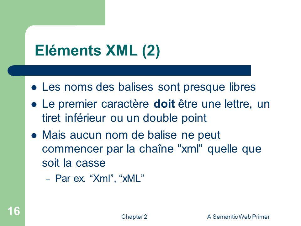 Eléments XML (2) Les noms des balises sont presque libres