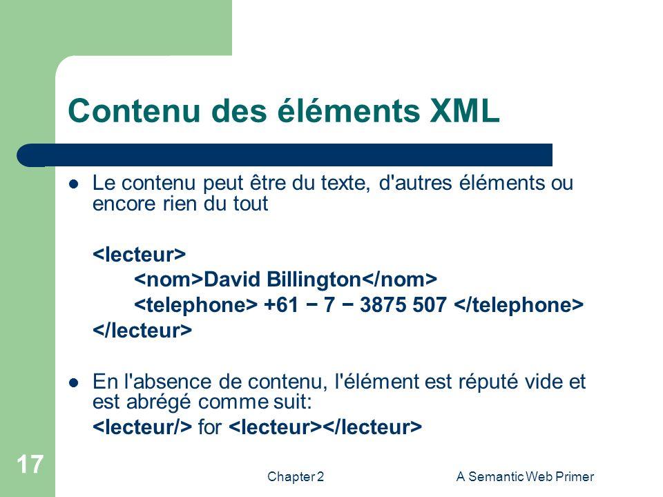 Contenu des éléments XML