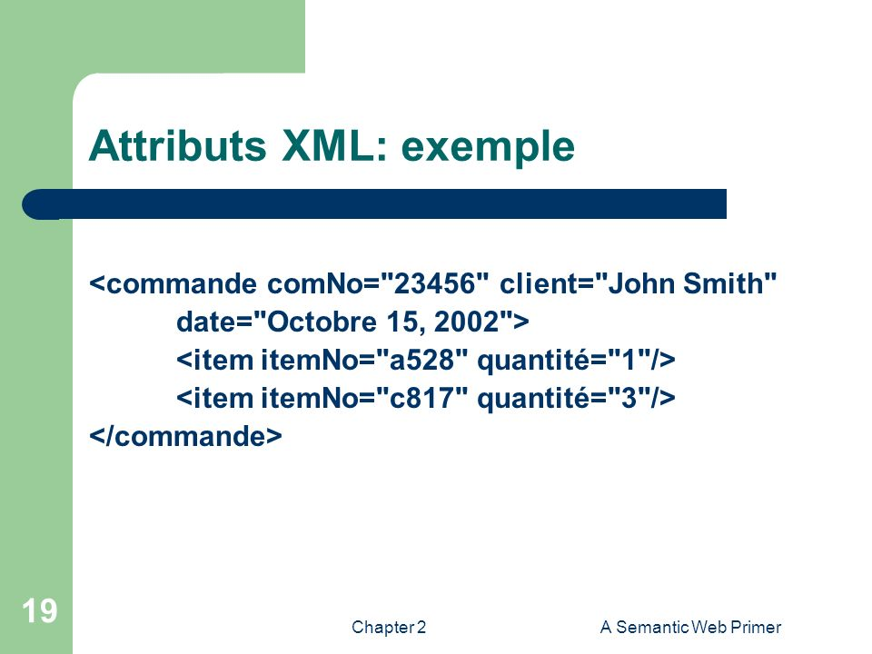 Attributs XML: exemple