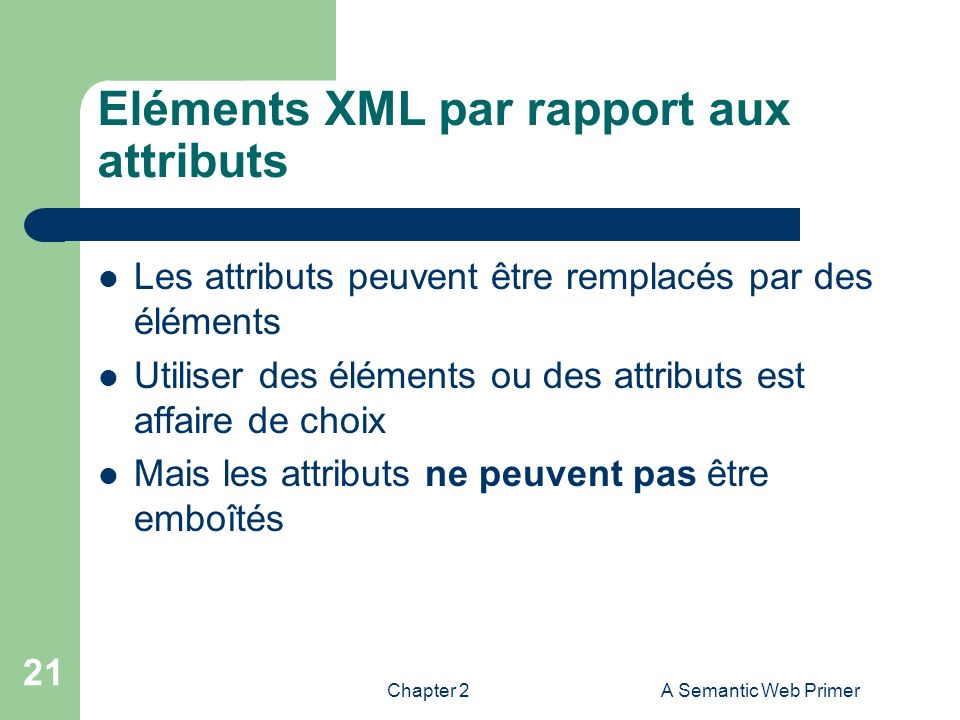 Eléments XML par rapport aux attributs