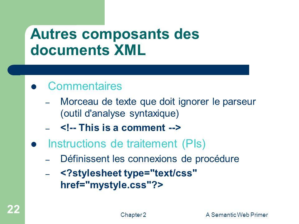 Autres composants des documents XML