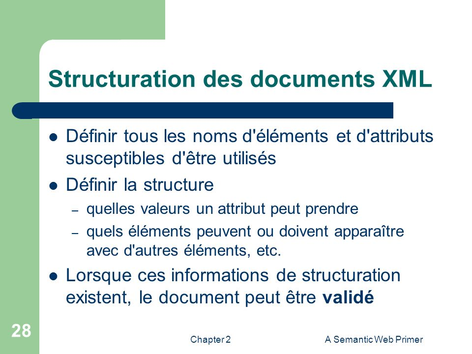 Structuration des documents XML