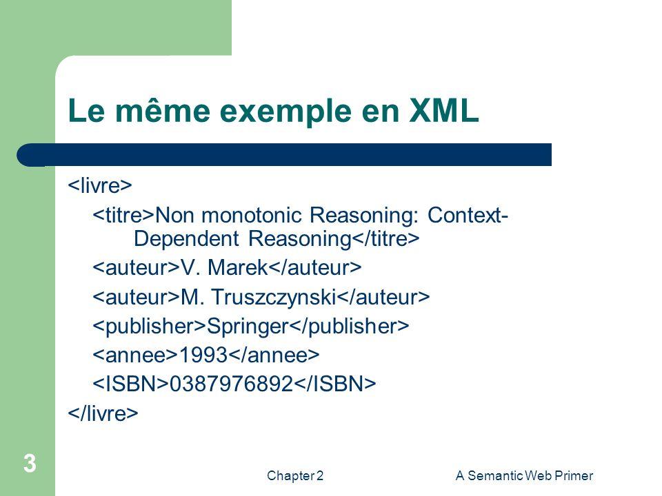 Le même exemple en XML <livre>