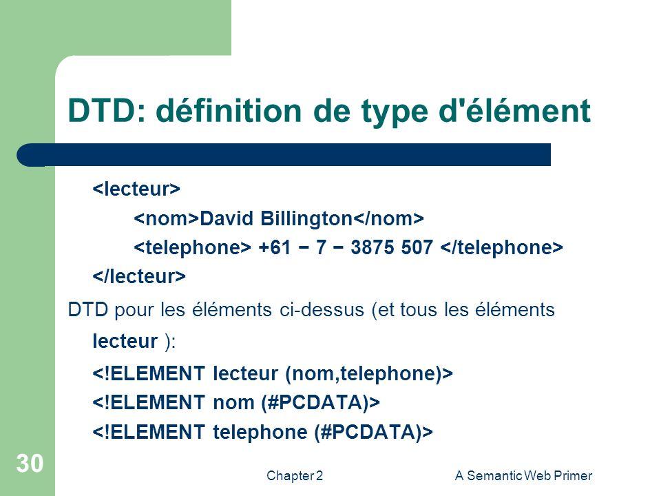 DTD: définition de type d élément