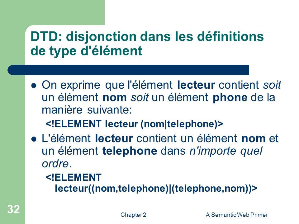 DTD: disjonction dans les définitions de type d élément