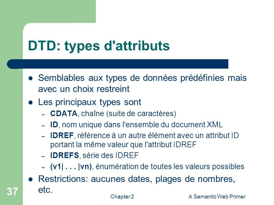 DTD: types d attributs Semblables aux types de données prédéfinies mais avec un choix restreint. Les principaux types sont.