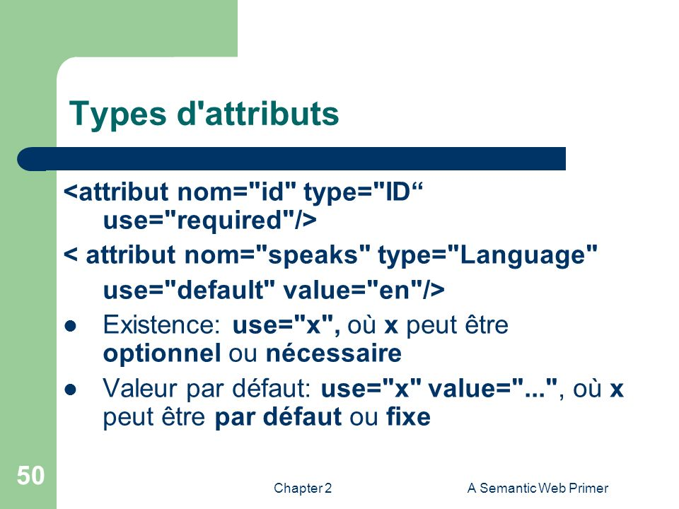 Types d attributs <attribut nom= id type= ID use= required />