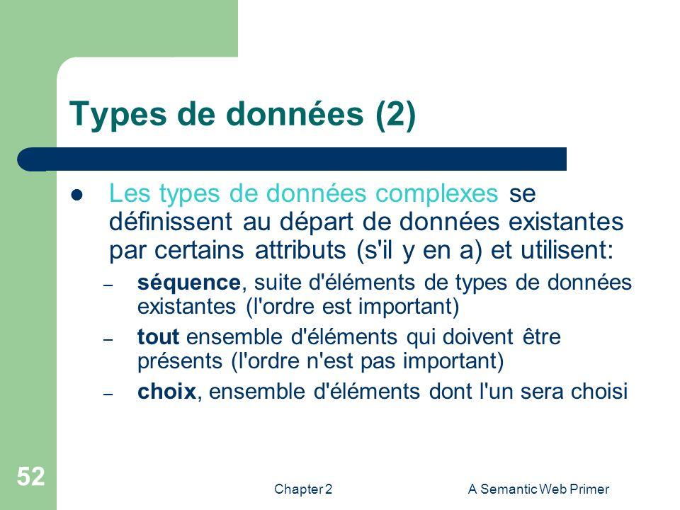 Types de données (2) Les types de données complexes se définissent au départ de données existantes par certains attributs (s il y en a) et utilisent: